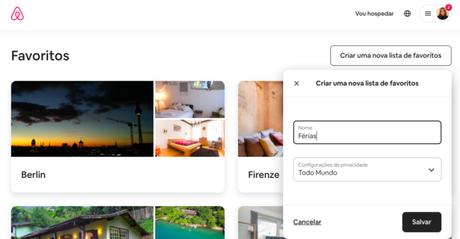 Como criar uma lista de favoritos no Airbnb
