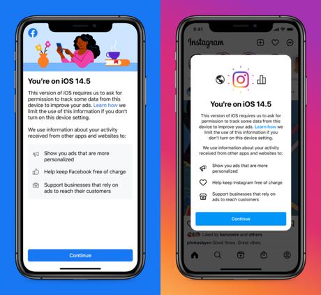 Notificação do Facebook e Instagram no iOS 14.5