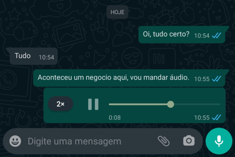 Opção do WhatsApp para acelerar a velocidade dos áudios