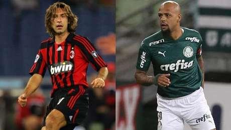 Pirlo, ex-jogador de Milan e Juventus, e Felipe Melo, volante do Palmeiras e ex-Juve (Montagem LANCE!)