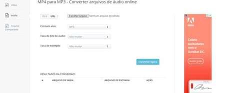 O Aconvert é outro site que oferece ajustes como taxa de bits