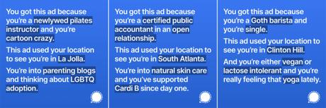Anúncios elaborados pelo Signal para exibição no Instagram