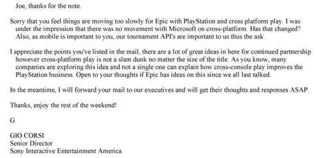 E-mail de resposta de Gio Corsi, da Sony, rejeitando a proposta