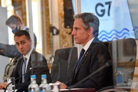 Secretário de Estado dos EUA, Antony Blinken, durante reunião dos chanceleres dos países do G7 em Londres 04/05/2021 Ben Stansall/Pool via REUTERS