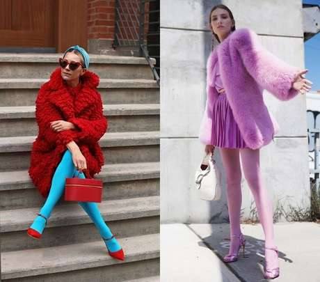 Jailma Pacheco mostra algumas opções de looks com meia-calças coloridas./ Divulgação