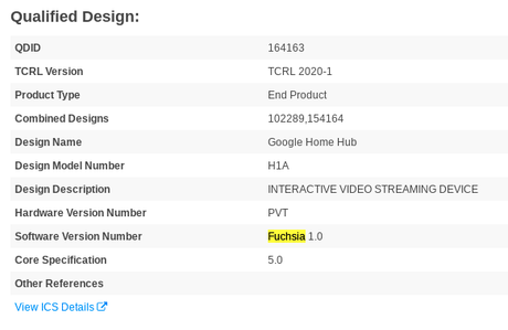 Certificação da Bluetooth SIG para Google Nest Hub menciona Fuchsia 1.0