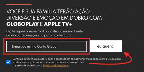 Oferta do Apple TV+ com Globoplay