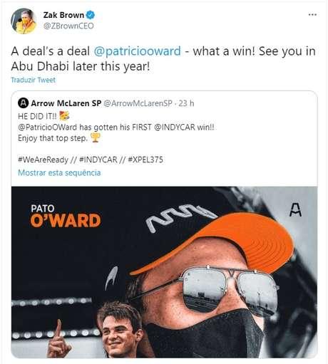 Zak Brown agora tem uma promessa a cumprir com O'Ward.