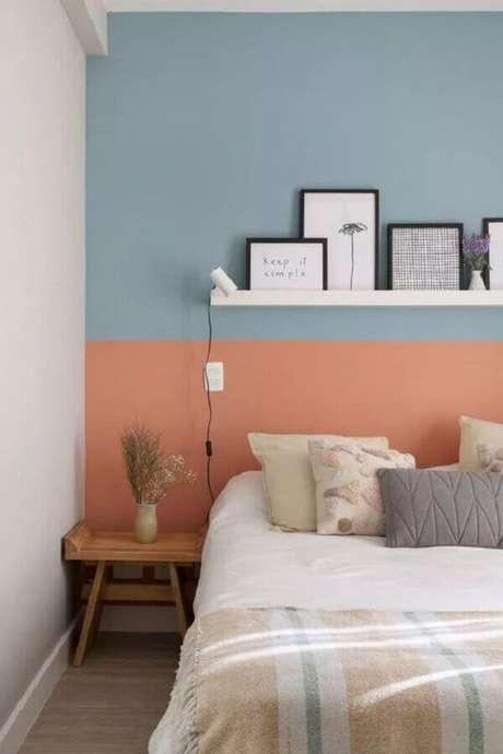 43. Decoração com meia parede pintada quarto rosa e azul – Foto: Pinterest