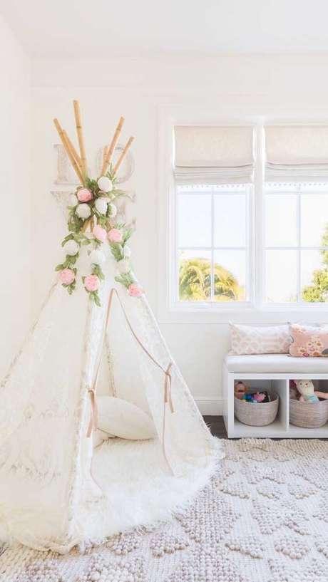 5. Cabana em casa feita com tecido de renda – Foto Pinterest