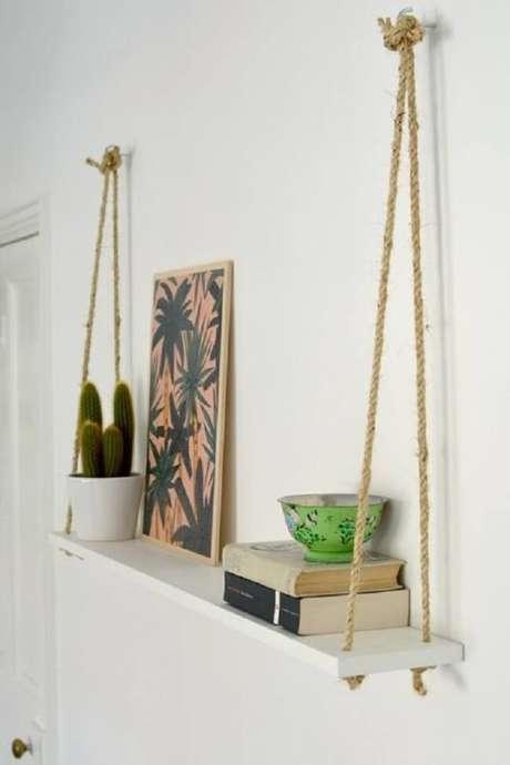 10. A prateleira de corda pode ser posicionada em diferentes cômodos da casa. Fonte: Pinterest