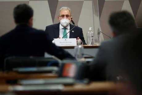 Ministro da Saúde, Marcelo Queiroga, durante depoimento à CPI da Covid no Senado 06/05/2021 REUTERS/Adriano Machado
