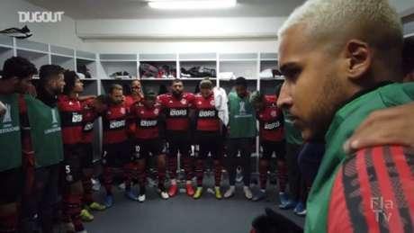 Vestiário do Flamengo antes da partida (Foto: Reprodução/Dugout)