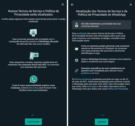 Aviso do WhatsApp sobre nova política de privacidade