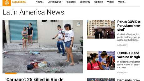 A rede de notícias Al Jazeera, do Catar, traz reportagem com 'carnificina' no título