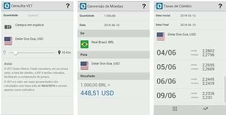 O app Cãmbio Legal é uma ferramente de conversão de moedas do governo