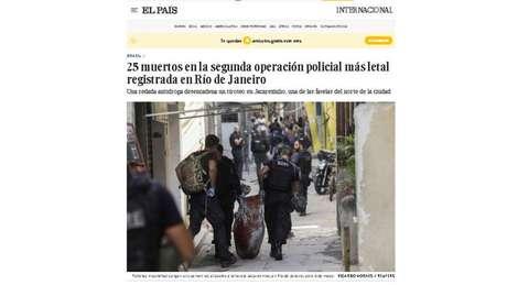 El País questiona apoio de parte da imprensa local à operação mais letal da história do RJ