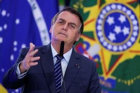 Presidente Jair Bolsonaro discursa durante cerimônia no Palácio do Planalto 05/05/2021 REUTERS/Ueslei Marcelino