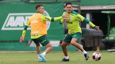 Lucas Lima e Gustavo Gómez em treino do Palmeiras (Foto: Cesar Greco/Palmeiras)