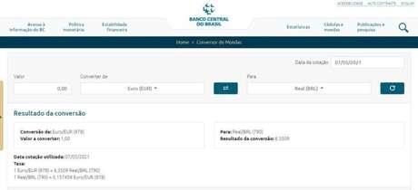 O site do Banco Central é a fonte oficial para cotações