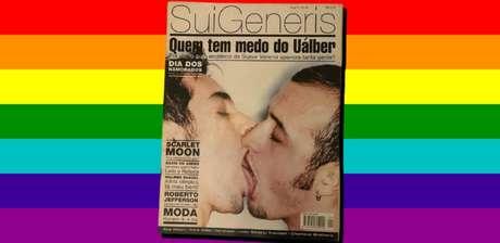 A capa bombástica do beijo gay entre Paulo Gustavo (à direita) e seu então namorado: imagem histórica na batalha pelos direitos da comunidade LGBT+