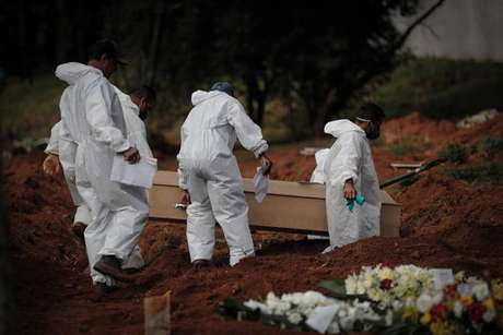 Enterro de vítima da Covid no Cemitério da Vila Formosa, em São Paulo (SP)