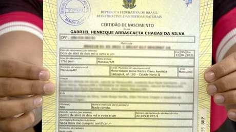 Certidão de Gabriel Henrique Arrascaeta Chagas da Silva (Reprodução)