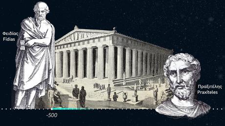 Ilustrações de Phidias e Praxiteles, escultores famosos da Grécia antiga, ilustração do Parthenon na Acrópole de Aténas