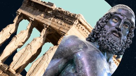 As Cariátides em mármore, e um dos Guerreiros de Riace, feito em bronze