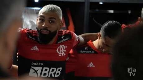 O atacante Gabriel Barbosa, do Flamengo, em discurso no vestiário do Maracanã (Foto: Reprodução/FlaTV)