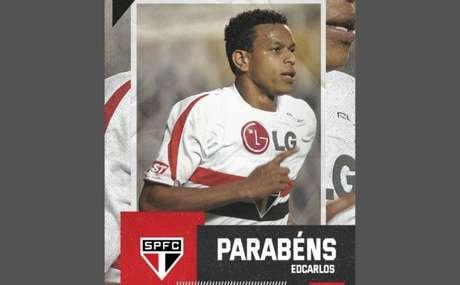 Edcarlos recebe homenagem do São Paulo em seu aniversário (Foto: Reprodução/Twitter @SaoPauloFC)