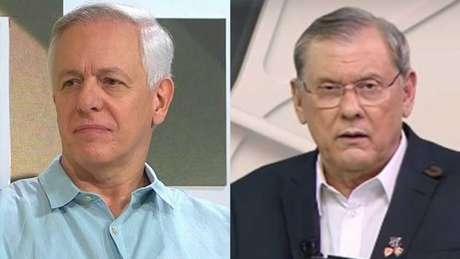 Milton Leite e Neves em atrito (Foto: Montagem LANCE! Fotos: Reprodução/SporTV e Reprodução/TV Bandeirantes)