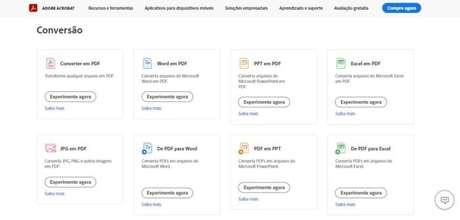 É possível converter arquivos em PDF através do site da Adobe