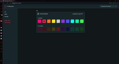 Uma das customizações possíveis é a combinação de cores no navegador.