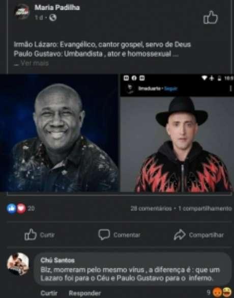 Após fala homofóbica, Chú fechou suas redes sociais (Reprodução / Facebook)