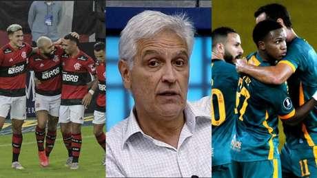 Sormani cravou o favoritismo para o lado rubro-negro (Montagem Lance! Fotos: Alexandre Vidal / Flamengo; Reprodução; MAILSON SANTANA/FLUMINENSE FC)