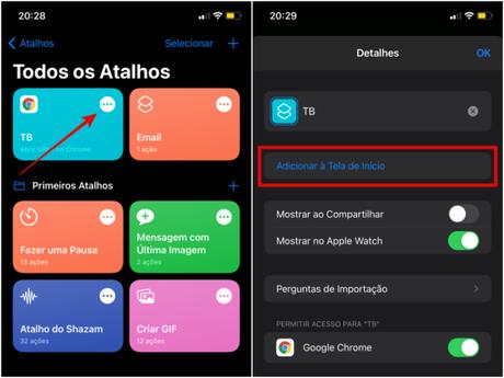 Adicione o atalho criado à tela de Início do iPhone