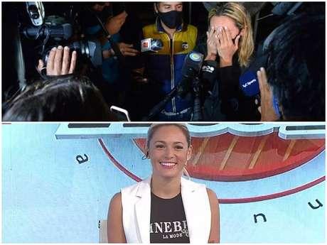 Rocío Oliva na porta do velório de Maradona, impedida de entrar, e no programa do qual fazia parte no canal C5N