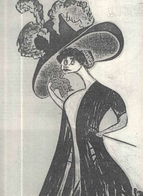 Primeira caricatura publicada de Nair retrata a artista francesa Réjane, que passava uma temporada no Brasil