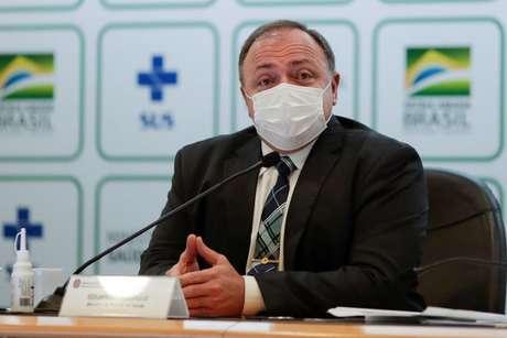 Eduardo Pazuello durante entrevista coletiva em Brasília 15/03/2021 REUTERS/Ueslei Marcelino