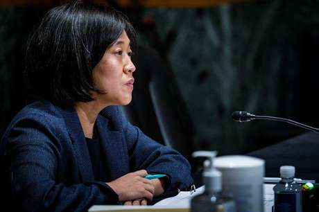 Katherine Tai em comissão do Senado dos EUA  12/5/2021    Pete Marovich/Pool via REUTERS