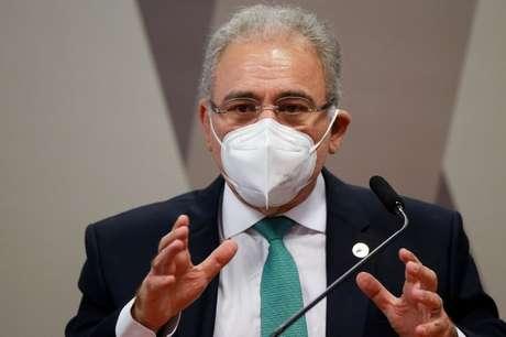 Ministro da Saúde, Marcelo Queiroga, na CPI da Covid no Senado 06/05/2021 REUTERS/Adriano Machado