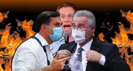 """Os senadores Flávio Bolsonaro e Renan Calheiros durante embate na CPI, transmitido ao vivo: """"O Brasil tá vendo"""", diria Tiago Leifert"""