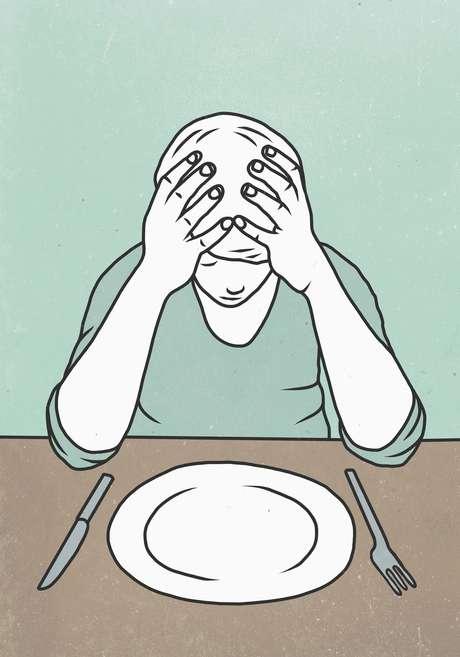 Ilustração de menino diante de prato vazio
