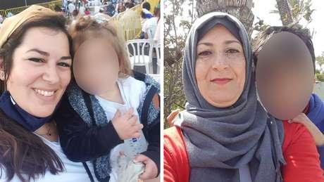 Tova Levy (à esquerda) e Najwa Sheikh-Ahmad (à direita) estão preocupados com a segurança de seus filhos, pois a luta piora