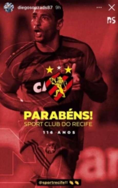 Diego Souza parabenizando o Sport (Reprodução: Instagram)