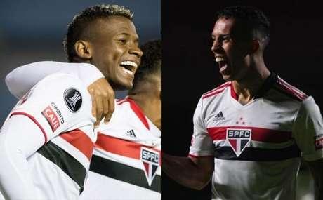 Orejuela e Igor Vinícius (Fotos: Staff images /CONMEBOL e Paulo Pinto/ saopaulofc.net)