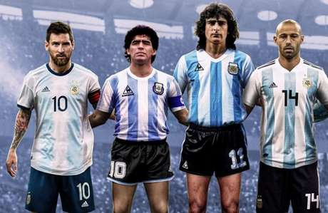 Lionel Messi, Diego Maradona, Mario Kempes e Mascherano puxam a fila das lendas (Foto: Reprodução/Fifa)