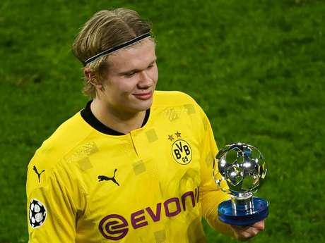 Haaland fez uma grande temporada em Dortmund (Foto: INA FASSBENDER / POOL / AFP)