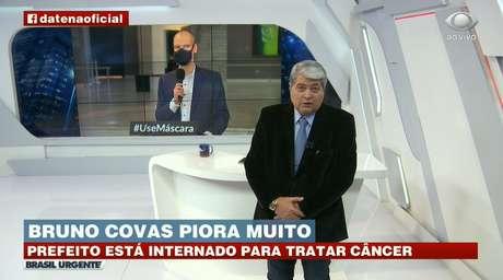 Datena ao dar o 'furo' sobre a piora no estado de saúde de Bruno Covas